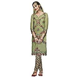 Bhelpuri Women Light Green Georgette Semi-stitched Salwar Kameez