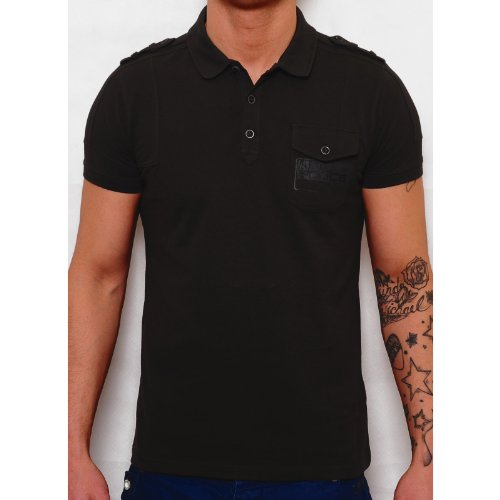 883 Police Man Charcoal Caider Polo Shirt Chest Pocket 100% Cotton Charcoal Small