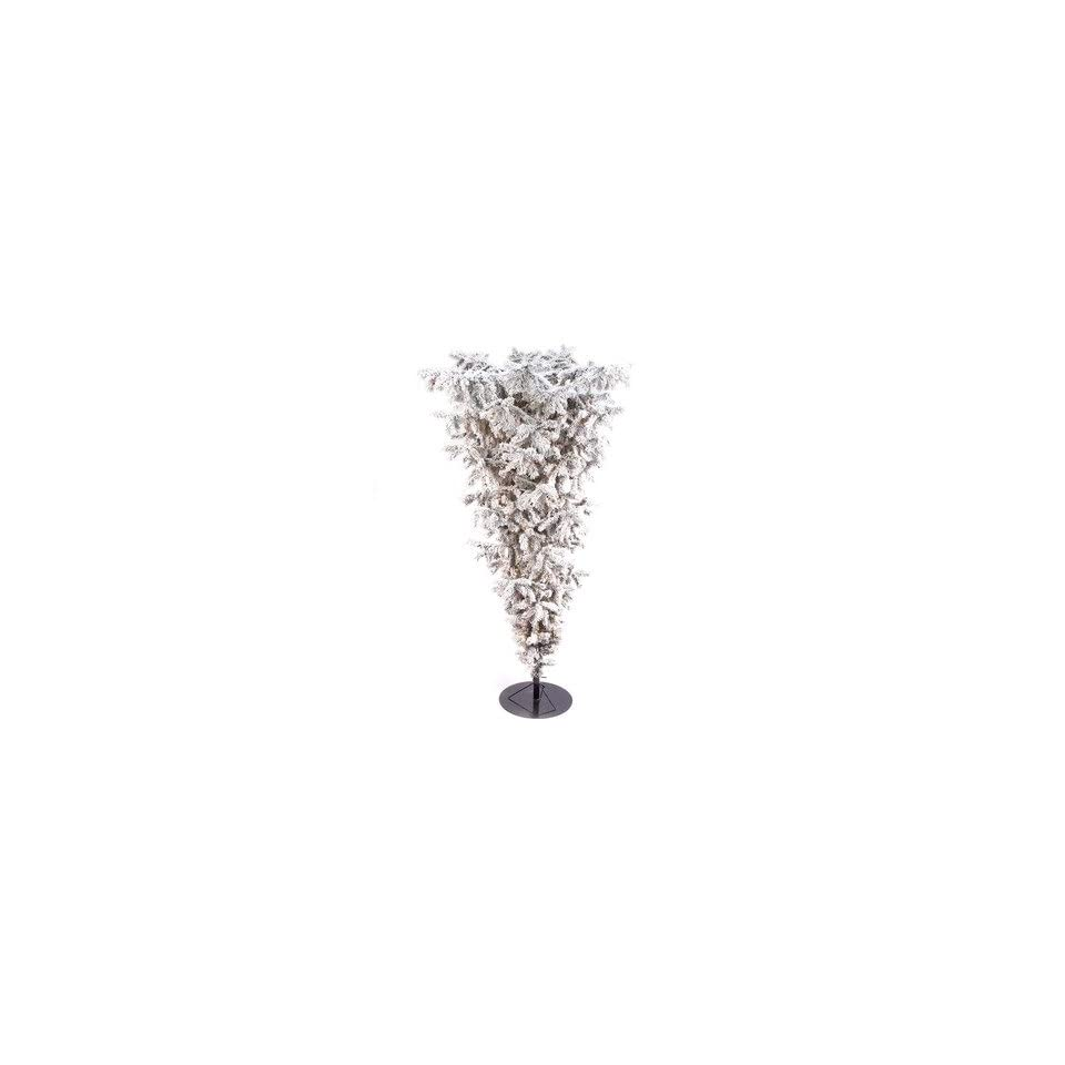 Flocked King Upside Down Full Pine Christmas Tree with Lights