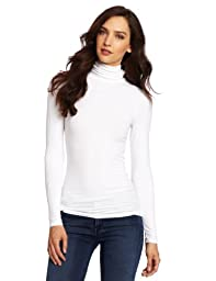 Three Dots Women\'s Long Sleeve Turtleneck Tee, White, X-Large