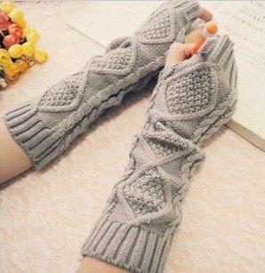 Winter Warmer Long Stretch Weave Knit Arm Warmer Fingerless Gloves Crochet,Glay