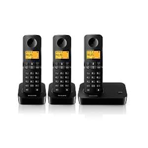 Philips D2003B/FR Téléphone fixe sans fil + 3 combinés avec haut-parleur Noir