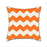 Cotton Linen Throw Pillow, Decorative Pillows.? Chevron-Orange Cotton Linen Square Decorative Throw Pillow Case Cushion Cover 18 x 18 Inch