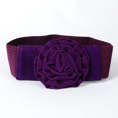 floral wide belt waist chain dress decor purple prom dress