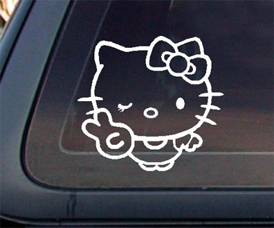 Hello Kitty with Hand Peace Sign Car Decal /Sticker