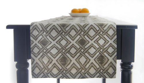 "Grey Table Runner, Grey, Brown And Creamy White Table Runner 120 Inch Long 120"" Long - Urbanica Grey"