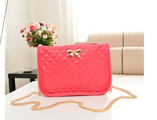 New Chain Style Shoulder Bag Fashion Purse Korean Lady Handbag Tote (Domastic Priority Mail) (Red)