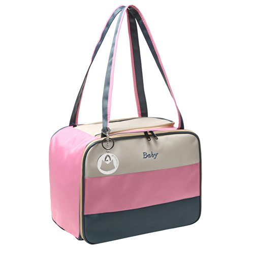 Mg Collection Tri-Color Striped Pink Diaper Bag / Travel Tote Baby Bag (For Girl) W/ Changing Pad