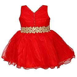 ChipChop Red Net Dresses for Girls