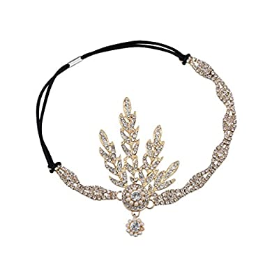 Babeyond® Art Deco 1920's Flapper Great Gatsby Inspired Leaf Medallion Pearl Headpiece Headband