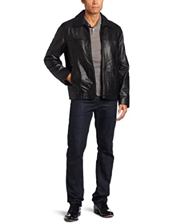 Tommy Hilfiger Men's Classic Open Bottom Genuine Leather Jacket, Black, Small