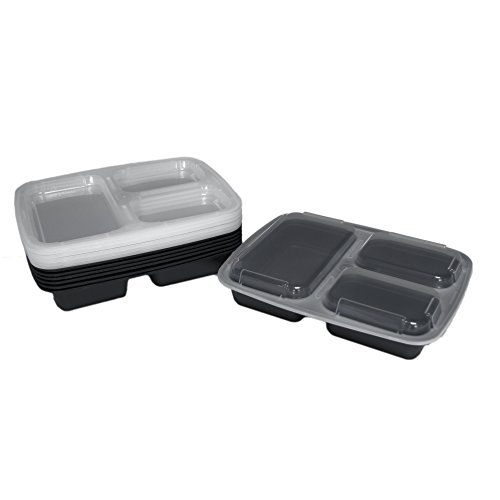 3 compartment meal prep containers with lids food storage lunch bento box with plate dividers. Black Bedroom Furniture Sets. Home Design Ideas