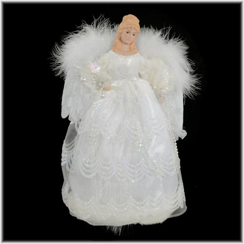 41bMzbWeBDL 16 White LED Fiber Optic Angel Tree Topper