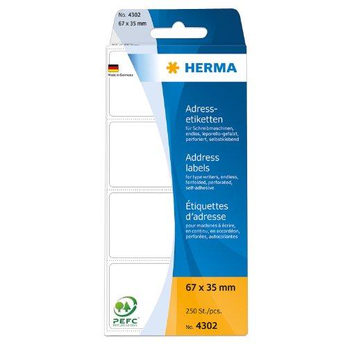 Herma 4302 Pack de 250 étiquettes d'adresses Premium pliées en zigzag papier mat 67 x 35 mm (Blanc)