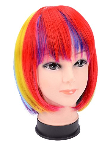 Hot & Colorful Short Wig for Cosplay Party, Costume Party, & Raves, Rainbow