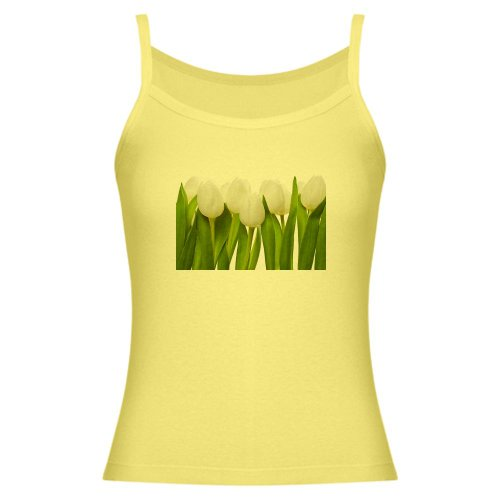 Artsmith, Inc. Jr. Spaghetti Tank White Tulips Spring - Lemon, Small