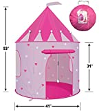 CPSIA Compliant Children Play Tent - Girl's Pink Princess Castle Play Tent Playhouse for Kids- Lightweight and Portable for Indoor or Outdoor Use With Stakes - Glow-in-the-Dark Stars - by WooHoo Toys