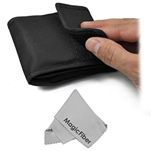 3 Pocket Filter Case (Wallet Pouch) for Circular Filters + Premium MagicFiber Microfiber Cleaning Cloth
