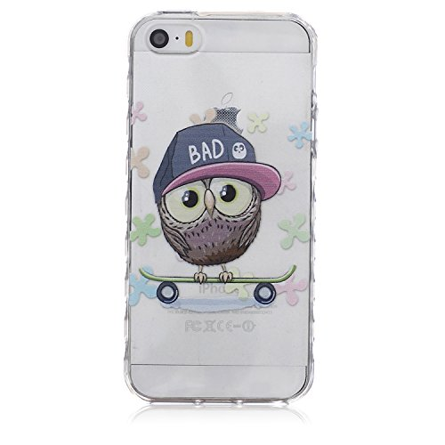 iPhone 5S Case, GreenElecFashion Style Colorful Painted, Soft Silicone Gel TPU Protective Case Bumper[Scratch-Resistant] [Perfect Fit] Translucent Back Cover for iPhone 5S (Owl)