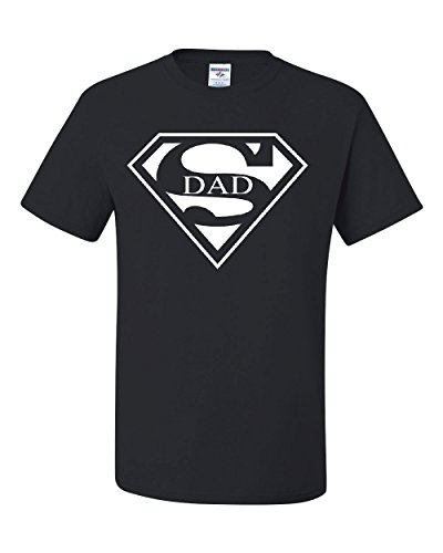 Super Dad T-Shirt Funny Superhero Father's Day Tee Shirt Black L