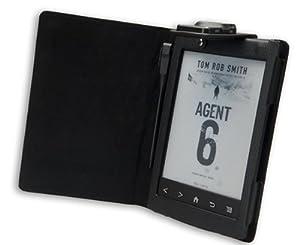 La housse etui Gecko Covers Sony PRS T2 Luxe noir avec lampe de lecture intégrée pour la Sony PRS T2 e-reader eBook / Sony Reader accessoire