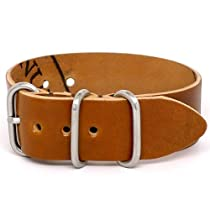 DaLuca Shell Cordovan 1 Piece NATO Watch Strap - Brandy (Matte Buckle) : 26mm