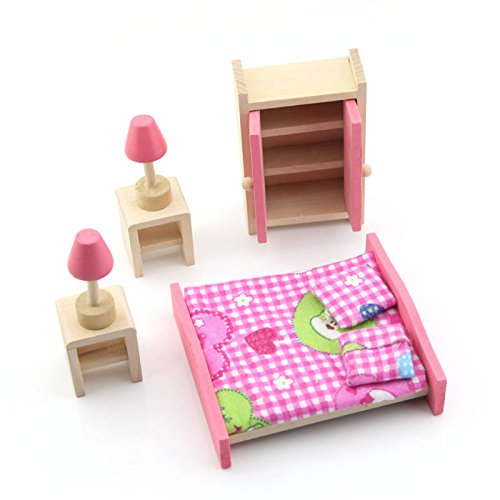 wooden miniature children bedroom furniture set toys for kid image 1