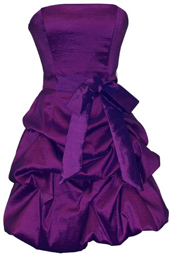 Strapless Taffeta Bubble Dress with Pick-Ups Formal Gown Prom Dress, Large, Purple