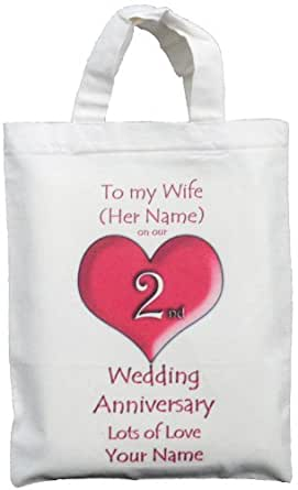... 2nd Wedding Anniversary - Small Natural Cotton Gift Bag: Amazon.co.uk