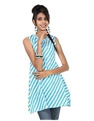 Rajrang Cotton White, Sky Blue Screen Printed Tunic Top, Size: S