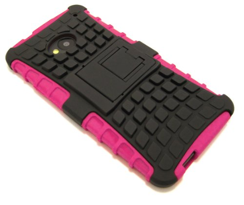 Cell-Nerds Nerdshield Armor Case Cover & Built-In Kickstand For Htc One (M7, 2013 Release 4.7 Inch) T-Mobile, At&T And Sprint - Cell-Nerds Packaging (Pink)