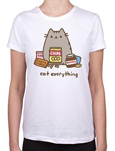 Pusheen Eats Everything Wehaveany-Maglietta da donna bianco Medium