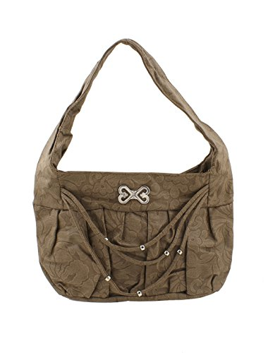 Faux Leather Women Flower Pattern Zippered Handbag Brown