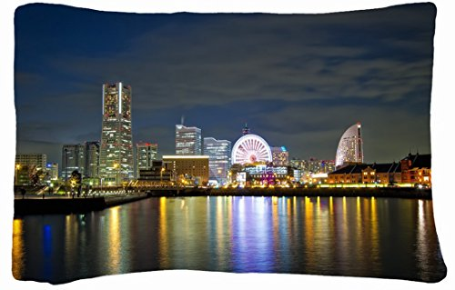 Microfiber Peach Queen Size Decorative Pillowcase -City Japan Yokohama Night Images Lights Buildings Reflections front-839932