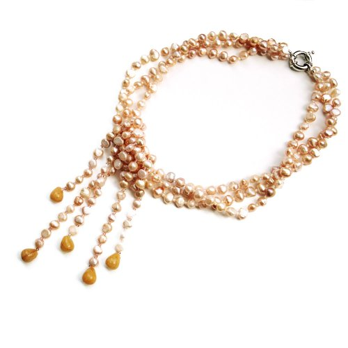 Rose-gold Baroque 17 Inch Three Strand Pearl Necklace; 5.5-6.5 mm Width Uneven Pearls with Golden Gemstones