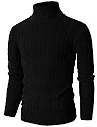 H2H Mens Casual Turtleneck Slim Fit Pullover Sweaters with Twist Patterned BLACK US S/Asia M (KMOSWL033)