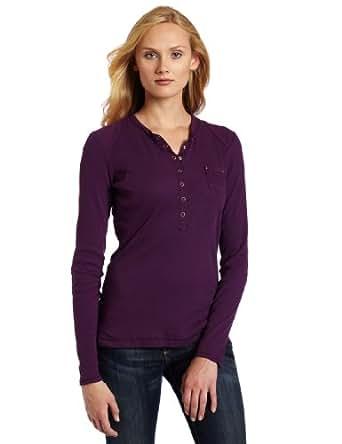 Dickies Women's Long Sleeve Rib Henley Shirt, Plum, 2X at Amazon Women