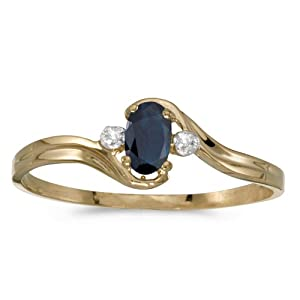 10k Yellow Gold Oval Sapphire And Diamond Ring (Size 4.5)