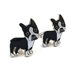 Men\'s Boston Terrier Cufflinks for Business or Weddings with Gift Box