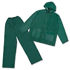 Stansport Men's Pvc Rainsuit with Hood, Green, Small