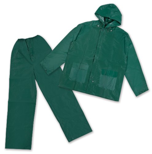 Stansport Men's Pvc Rainsuit with Hood, Green, XX-Large