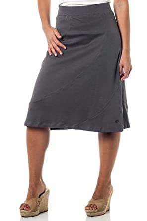 Alki'i A-Lined Mid Length Skirt with Elastic Waistband , Charcoal S