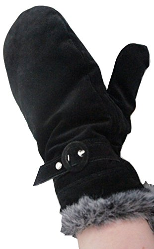 john-lewis-jet-black-soft-suede-with-fur-trim-insulated-mittens-gloves-size-large-x-large