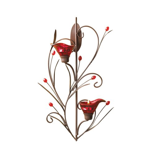 Gifts & Decor Ruby Blossom Tealight Candle Holder Wall Sconce Decor