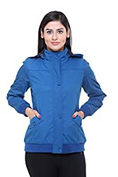 Trufit Full Sleeves Solid Women's Blue Removable Hood Lightweight Cotton Jacket without Filler