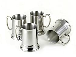 4 Large Stainless Steel Beer Mug Set - Fine Stainless Steel Barware for Your Enjoyment