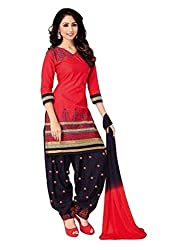 Pandadi Creation Women's Cotton Red and Blue Color Patiyala Dress Material with Nazneen Dupatta