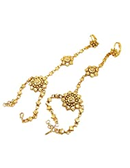 Aria Traditional Flower Design Gold Plated Hath Phool Bracelet For Women Hf1