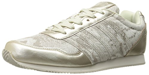 K-Swiss Women's New Haven Snake CMF Fashion Sneaker, Gold/Off White, 7.5 M US
