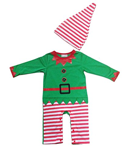 Swaroser Santa's Lil' Elf Costume Unisex-Baby Christmas suits leotard Santa hat Jumpsuit climbing clothes Rompers Pant sets